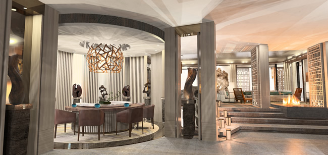 The dining area at Nobu Villa Caesars Palace. (Courtesy of Rockwell Group.)
