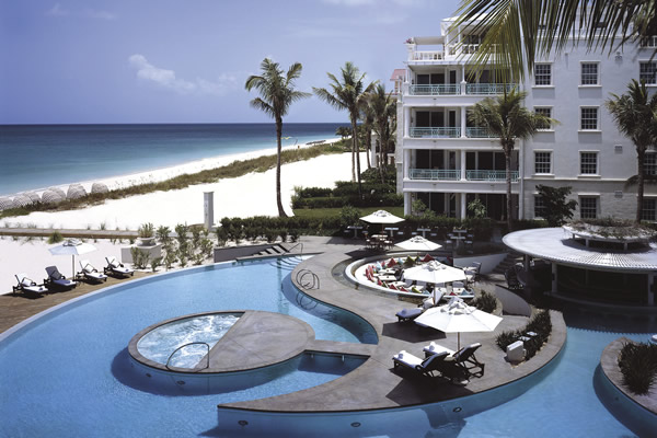 Poolside at the Regent Palms bordering Grace Bay.