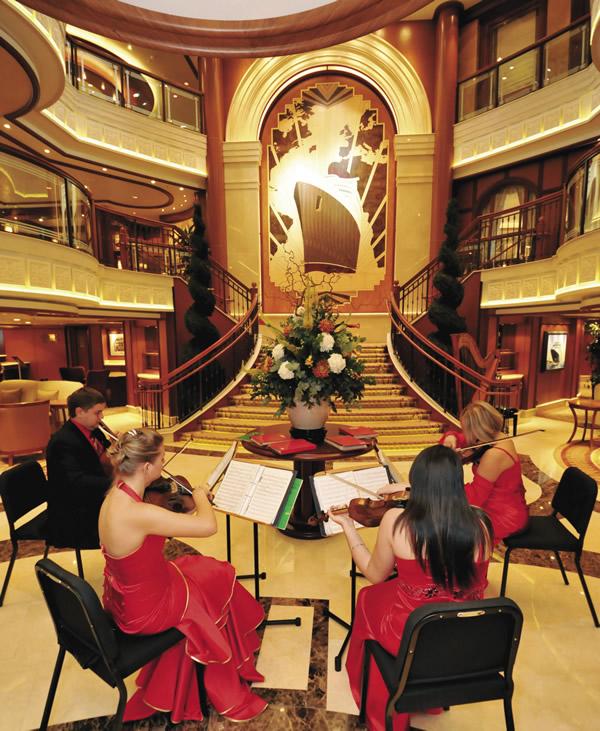 Queen Elizabeth's elegant Grand Lobby.