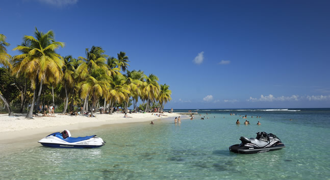 A local beach in Sainte-Anne in Guadeloupe Islands.