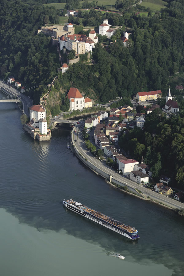 Sailing past Passau, one of the most picturesque cities along the Danube.