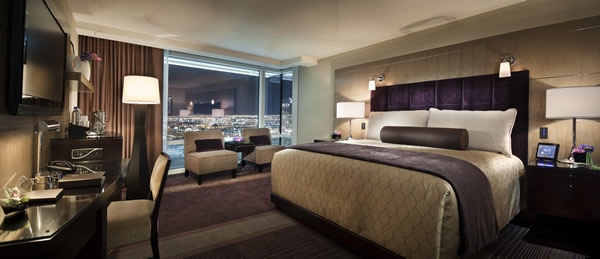 The spacious Deluxe Room King at ARIA Resort and Casino at CityCenter.