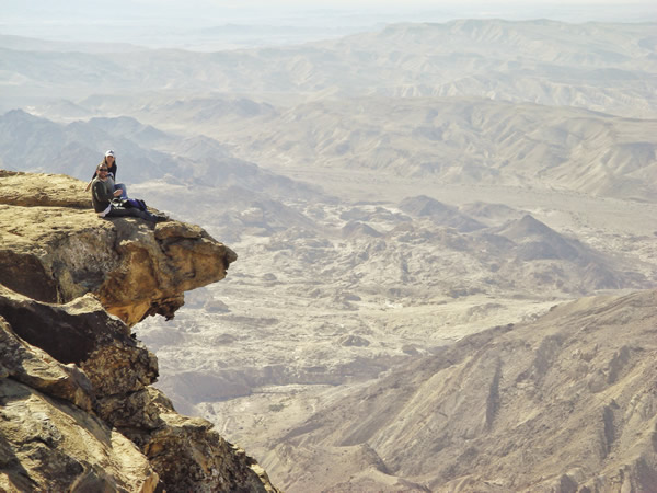 Hiking around Petram, with a bird's-eye view of Wadi Araba.