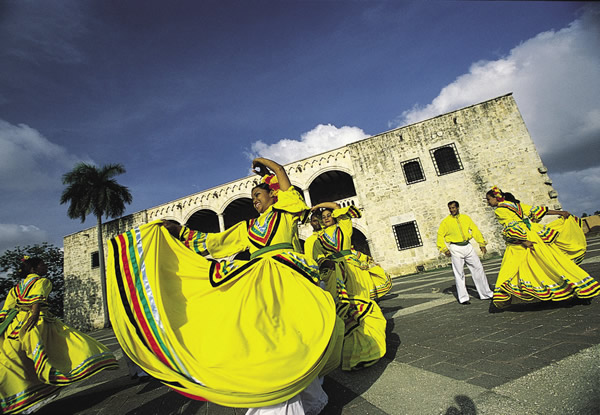 Colorful folk dancing in the Dominican Republic.