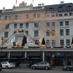 Holiday decorations at the landmark Hotel d'Angleterre, set on Kongens Nytorv.