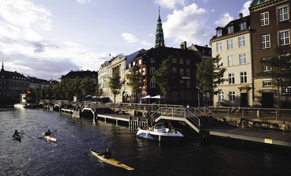 Kayaking in the Copenhagen canals in Denmark.