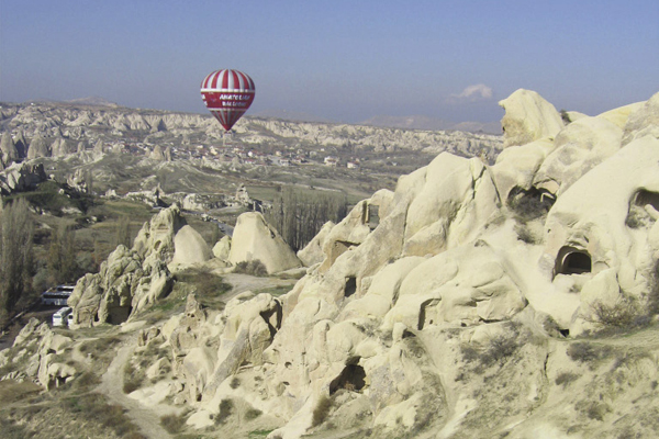 A hot air balloon ride over Cappadocia.