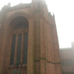 The Anglican Cathedral in Liverpool, the largest Anglican church in England, looms in the fog.