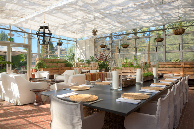 The greenhouse where meals are served for The Ranch 4.0 at the Four Seasons Westlake Village.