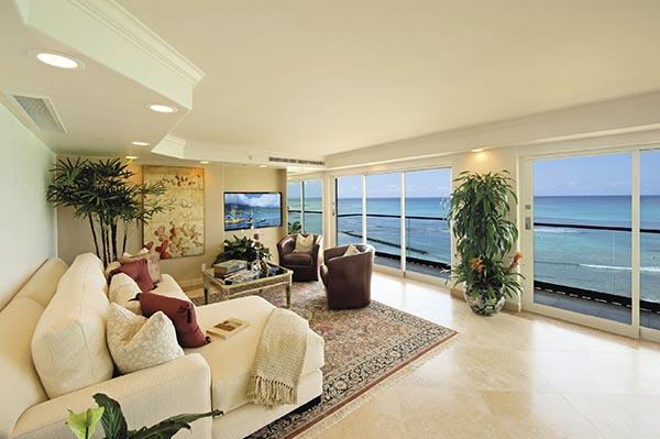 The Royal Kai Lani Suite at the Aston Waikiki Beachside Hotel.