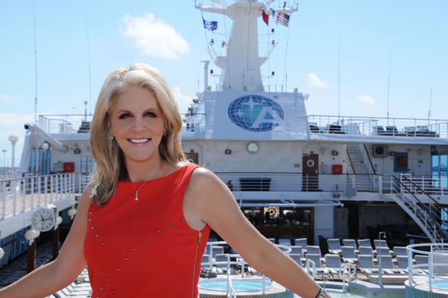 Cruise Planners-American Express Travel's CEO and co-founder, Michelle Fee aboard the Azamara Quest.