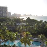 Pool and ocean views from the room at El San Juan Resort & Casio Main Tower Deluxe Rooms.