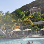 The water park at El Conquistador Resort has three adult slides, one kiddie pool with slide and lazy river.