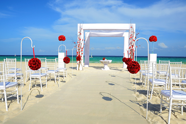 Occidental Hotels beach wedding set up for the Extravaganza package.
