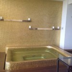 Fabulous gold jacuzzi on terrace at the soon-to-open Hotel Mousai.
