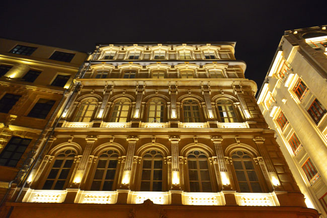 House Hotel Facade at Night.