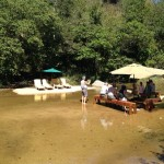 Lunch in the river at an organic farm