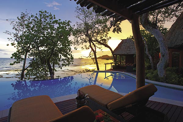 The Namale Resort & Spa overlooks the Koro Sea.