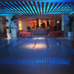 The lobby bar of The Condado Plaza  Hilton Hotel. The entire lobby lights up at dusk.