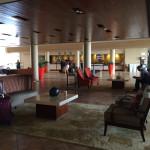 The open-air lobby at Caribe Hilton Hotel.