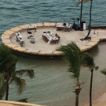 View of the deck, and our setting for dinner, at Caribe Hilton Hotel from the main building's guestroom.
