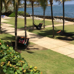 Hammocks by the pool with views of the bay at The Condado Plaza Hilton Hotel.