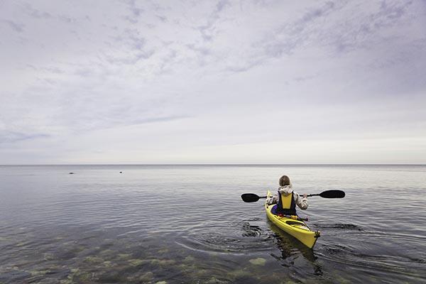 Kayaking offshore.