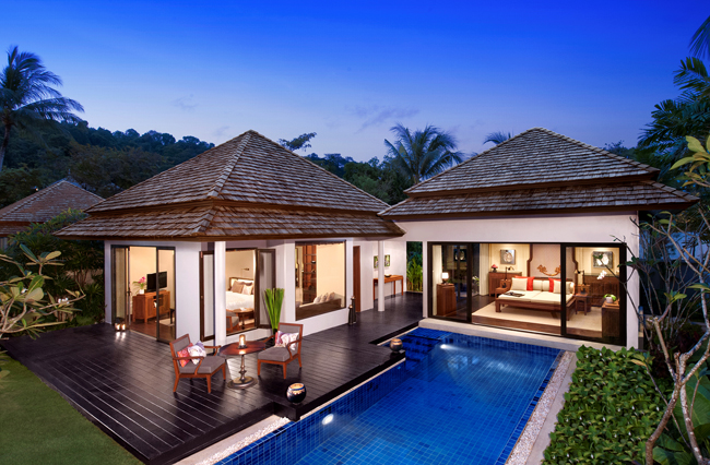 Anantara Phuket Layan Resort & Spa Beach Villa at night.