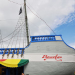 This ship is a restaurant inside with kid-friendly food like burgers, pizza and chicken fingers.