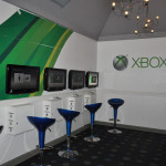 Wall to wall game consoles in the Xbox Game Room.