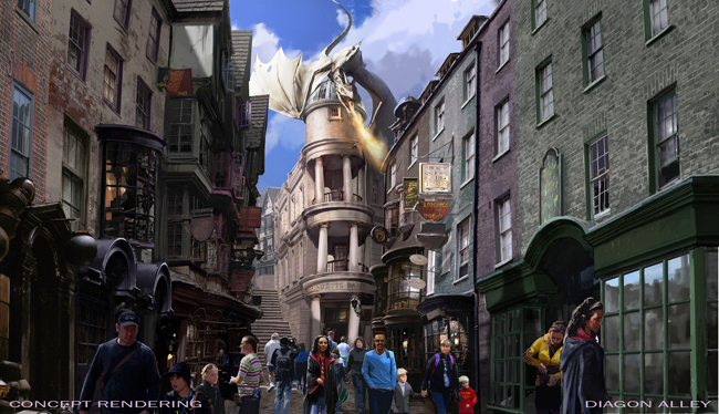 Opening this summer at Universal Studios Florida, The Wizarding World of Harry Potter – Diagon Alley. (Photo courtesy of Universal Studios.)