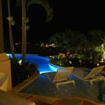 Sandals LaSource Italian Village plunge pool at night.