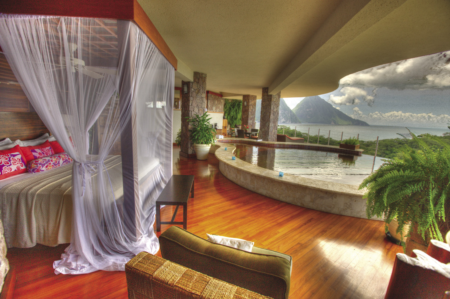A room with a stunning view at Jade Mountain.
