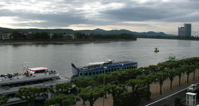 View of the Rhine River from the hotel in Bonn.