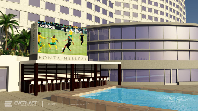 Rendering of the big screen for viewing parties at the Fontainebleu Miami Beach.
