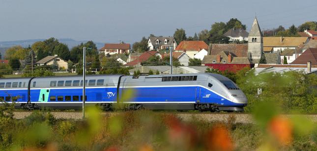 The TGV Duplex traveling through town. (Photo courtesy of Rail Europe, Inc.)