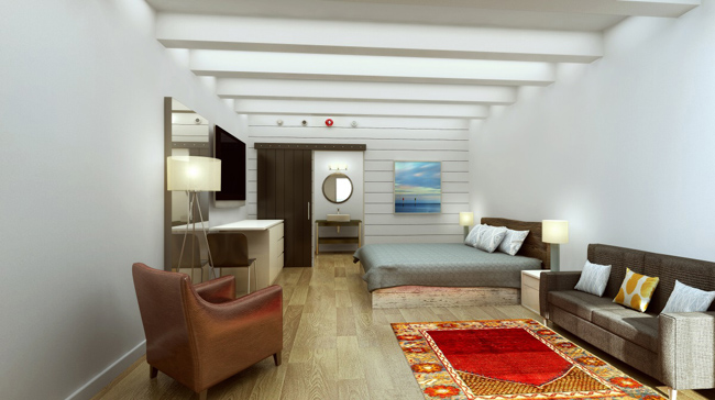 Rendering of the guestroom at The Gates.