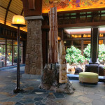 The spectacular lobby area of Aulani contains many examples of Hawaiian craft and culture.