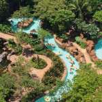 A view over the winding lazy river in the resort's Waikolohe Valley pool area.