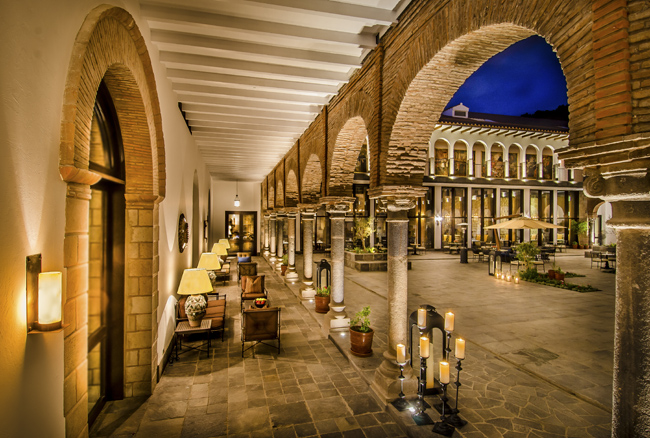 The courtyard at JW Marriott Cusco.