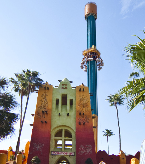 The revamped land of Pantopia with Falcon's Fury in the background.