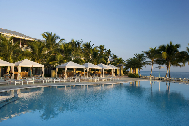 South Seas Island Resort's pool and cabana area.
