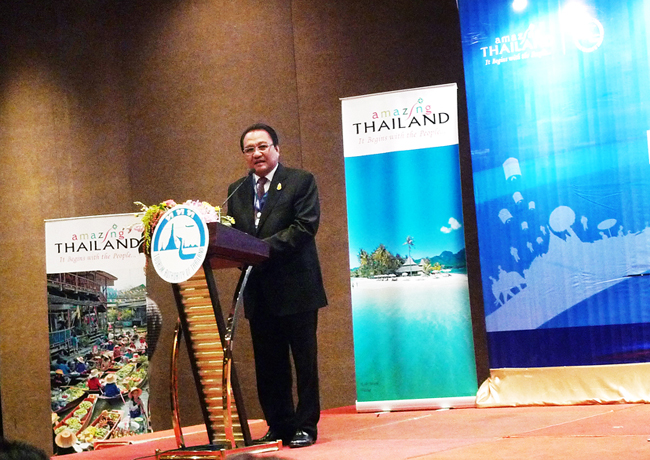 TAT governor Thawatchai Arunyik speaks at the 2014 Thailand Travel Mart on June 6.
