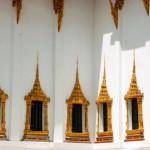Symmetrical windows at Bangkok's Temple of the Golden Buddha.