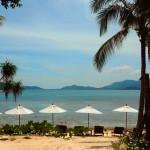 Umbrellas line the beach in The Treasure resort, a remote property on Koh Madsum off Koh Samui.