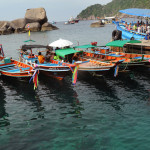 Boats and ferries on the Koh Tao waterfront.