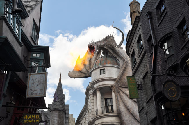 This fire-breathing Ukrainian Ironbelly on top of the Gringotts Bank sporadically emits fire throughout the day.