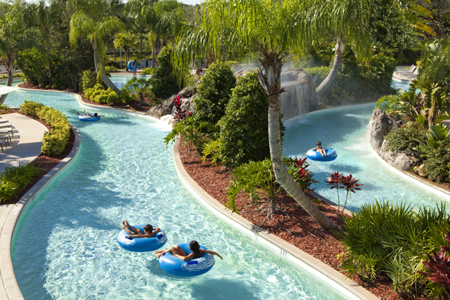 Guests can take time to unwind at Hilton Orlando's lazy river.