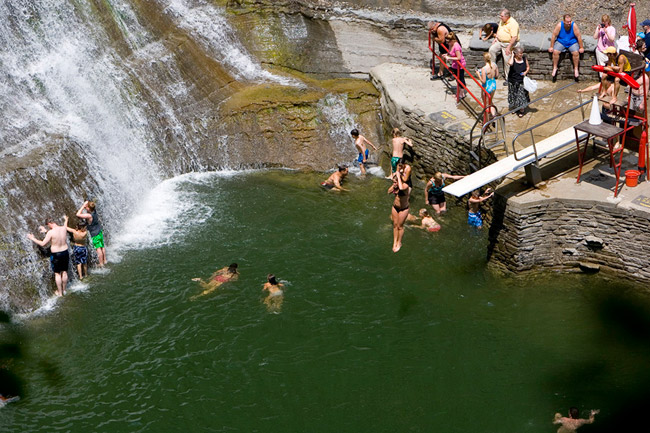 Swimming in the natural pools of Pulpit Falls at Robert Treman State Park. (Photo credit: Kristian Reynolds.)