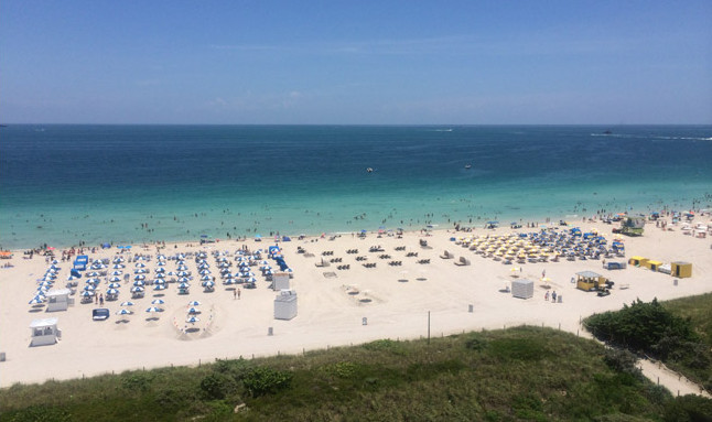 Beach views from our 11th floor room at Marriott Stanton South Beach.